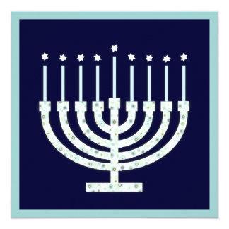 Hanukkah Menorah with Candles in Polka Dot 13 Cm X 13 Cm Square Invitation Card