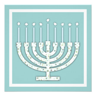 Hanukkah Menorah with Candles in Polka Dot Personalized Invitation