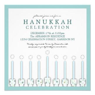 Hanukkah Menorah with Candles in Polka Dot Personalized Invitations