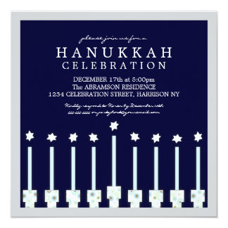 Hanukkah Menorah with Candles in Polka Dot 5.25x5.25 Square Paper Invitation Card