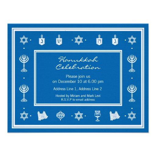 Hanukkah Motif blue Small Invitation