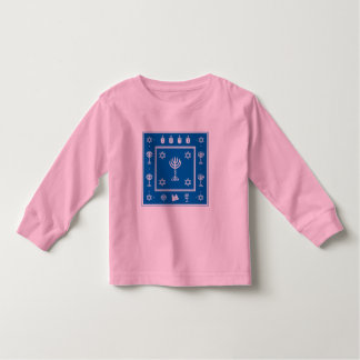 Hanukkah Motif blue Toddler Long Sleeve Tshirt