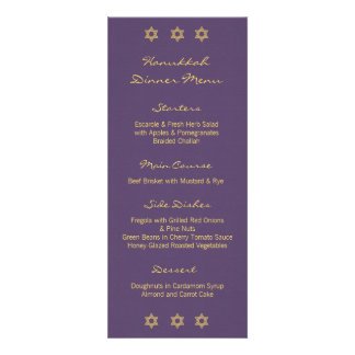 Hanukkah Motif purple Dinner Menu Invitation