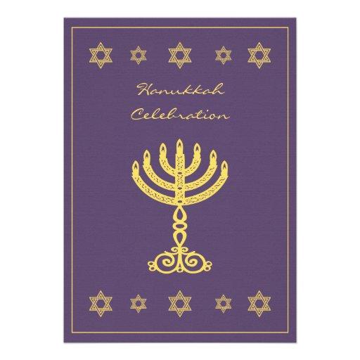 Hanukkah Motif purple Invitation