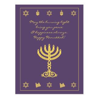 Hanukkah Motif purple Postcard