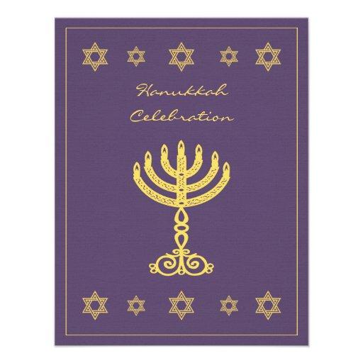 Hanukkah Motif purple Small Invitation
