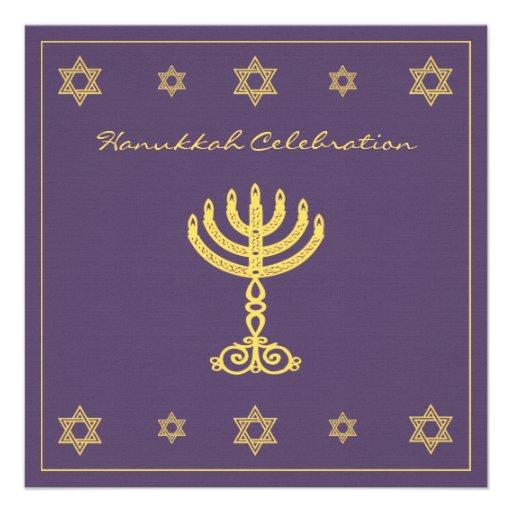 Hanukkah Motif purple Square Invitation