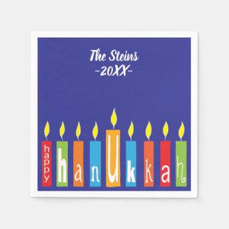 "Hanukkah Napkins Personalize ""Hanukkah Candles"" Paper Napkin"