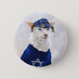 Hanukkah Payot Cat Holiday Button