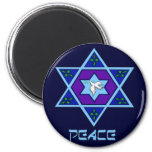 Hanukkah Peace Art 6 Cm Round Magnet