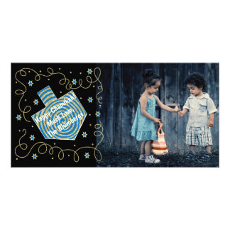 "Hanukkah Photo Card ""Dreidel Spinner"""