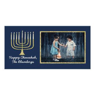 """Hanukkah Photo Card """"Elegant Menorah Blue"""""""