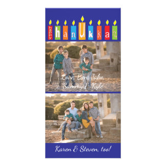 """Hanukkah Photo Card with white envelope """"Candles"""""""