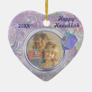 Hanukkah Photo Greetings Ceramic Ornament