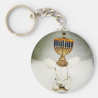 Hanukkah Photo Holiday Greeting Card Basic Round Button Key Ring