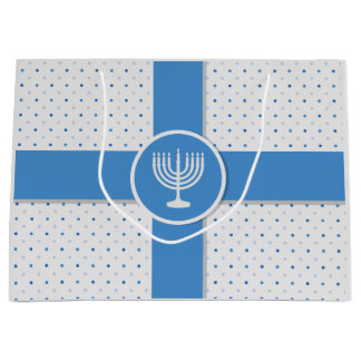 Hanukkah Polka Dot Wrapped Gift Large Gift Bag