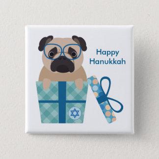Hanukkah Pug Gift 15 Cm Square Badge