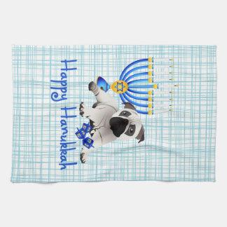 Hanukkah Pug with Menorah and Dreidels Tea Towel