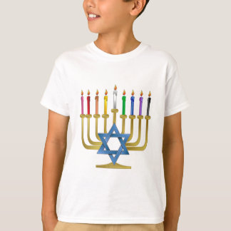 Hanukkah Rainbow Candles Gold Menorah T-Shirt
