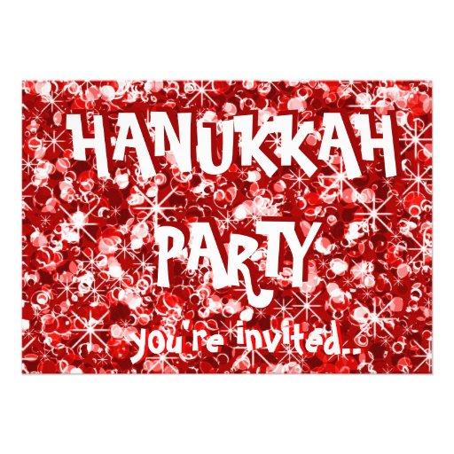 Hanukkah red party invitation