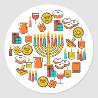 Hanukkah Round Sticker