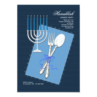 Hanukkah Silverware Dinner Party Invitation