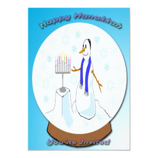 Hanukkah - Snow Globe Snowman  Invitation
