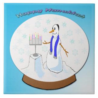 Hanukkah - Snow Globe Snowman Tile