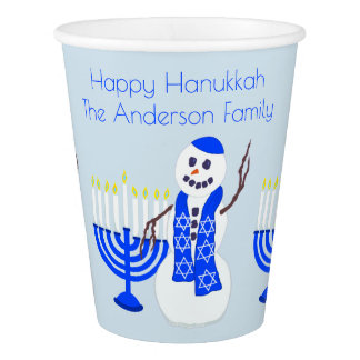 Hanukkah Snowman And Menorah Chrismukka Party Paper Cup