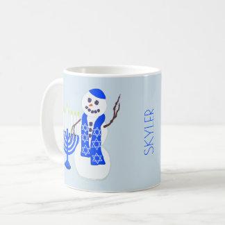 Hanukkah Snowman Chrismukkah Cute Add A Name Fun Coffee Mug
