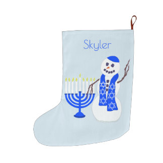 Hanukkah Snowman Chrismukkah For Kids Add A Name Large Christmas Stocking