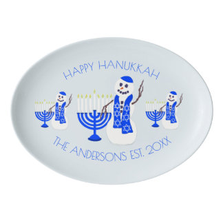 Hanukkah Snowman Chrismukkah Personalize This Porcelain Serving Platter