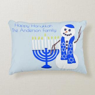 Hanukkah Snowman Holiday Reversible To Chevron Decorative Cushion