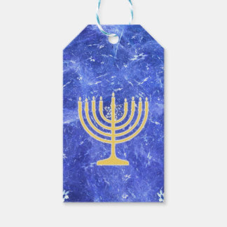Hanukkah Snowstorm Menorah Gift Tags