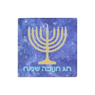 Hanukkah Snowstorm Menorah Stone Magnet