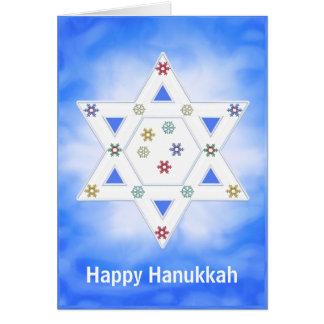 Hanukkah Star and Snowflakes Blue Card