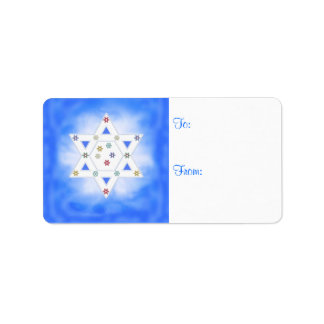 Hanukkah Star and Snowflakes Blue Gift Tag Address Label