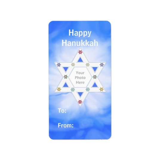 Hanukkah Star and Snowflakes Blue Photo Gift Tag