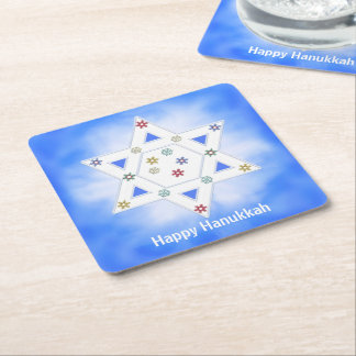 Hanukkah Star and Snowflakes Blue Square Paper Coaster