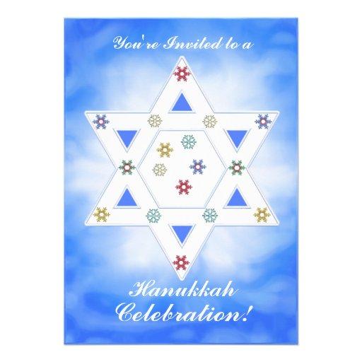 Hanukkah Star and Snowflakes Celebration Blue Invite