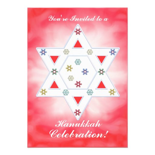 Hanukkah Star and Snowflakes Celebration Red Personalized Invite