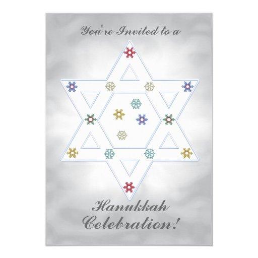 Hanukkah Star and Snowflakes Celebration Silver Custom Announcements