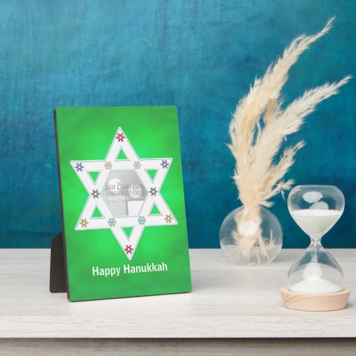 Hanukkah Star and Snowflakes Green  (photo frame) Plaque