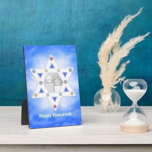 Hanukkah Star and Snowflakes Green  (photo frame) Display Plaque