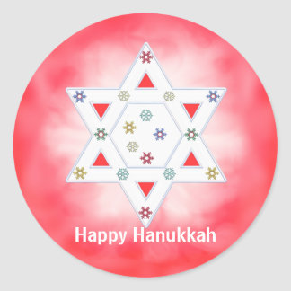 Hanukkah Star and Snowflakes Red Classic Round Sticker
