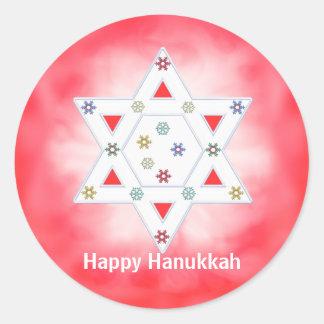 Hanukkah Star and Snowflakes Red Round Sticker