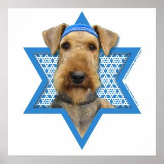 Hanukkah Star of David - Airedale Terrier Poster