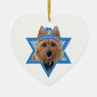 Hanukkah Star of David - Australian Terrier Ceramic Heart Decoration
