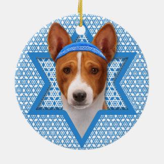 Hanukkah Star of David - Basenji Round Ceramic Decoration