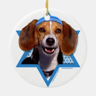 Hanukkah Star of David - Beagle Round Ceramic Decoration